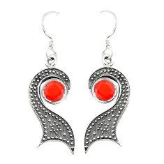 Natural orange cornelian (carnelian) 925 sterling silver earrings d25616