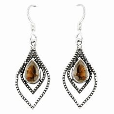 Clearance Sale- 925 sterling silver brown smoky topaz dangle earrings jewelry d25625