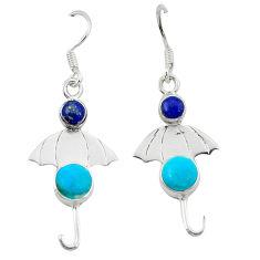 Clearance Sale- 925 silver blue sleeping beauty turquoise dangle earrings jewelry d2565