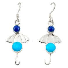auty turquoise lapis lazuli 925 silver dangle earrings d2569
