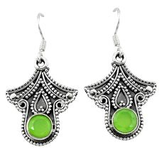 Natural green prehnite 925 sterling silver dangle earrings jewelry d2575