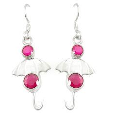 Clearance Sale- Red ruby quartz 925 sterling silver dangle earrings jewelry d25859