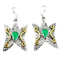 Victorian green emerald quartz 925 silver two tone dangle earrings d2591