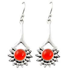 Clearance Sale- Natural orange cornelian (carnelian) 925 silver dangle earrings d26132