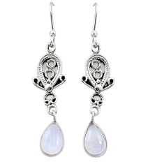 Clearance Sale- Natural rainbow moonstone 925 sterling silver dangle earrings d26135