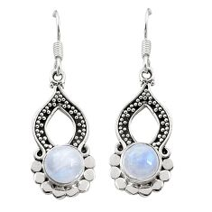 Clearance Sale- Natural rainbow moonstone 925 sterling silver dangle earrings d26136