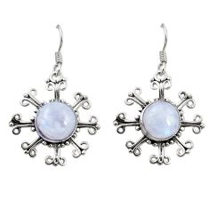 Clearance Sale- Natural rainbow moonstone 925 sterling silver dangle earrings d26138