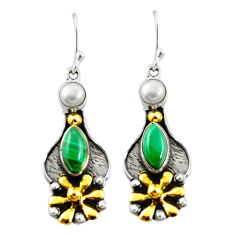 Natural green malachite (pilot's stone) 925 silver gold dangle earrings d26151