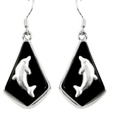 Natural black onyx 925 sterling silver dangle earrings jewelry d26207