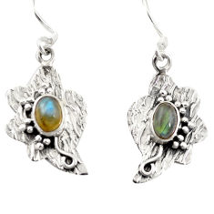 Natural blue labradorite 925 sterling silver dangle earrings d26208