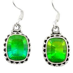 Clearance Sale- Green tourmaline (lab) 925 sterling silver dangle earrings jewelry d26214