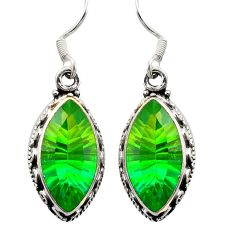 Clearance Sale- Green tourmaline (lab) 925 sterling silver dangle earrings d26218