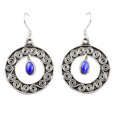 Clearance Sale- 925 sterling silver natural blue lapis lazuli dangle earrings jewelry d26360