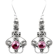 Natural red garnet 925 sterling silver dangle earrings jewelry d26387