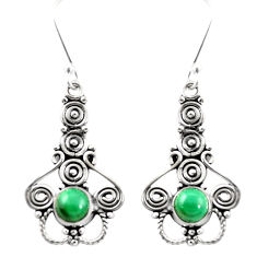 Natural green malachite (pilot's stone) 925 silver dangle earrings d26389