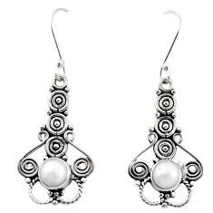 Clearance Sale- Natural white pearl 925 sterling silver dangle earrings jewelry d26397
