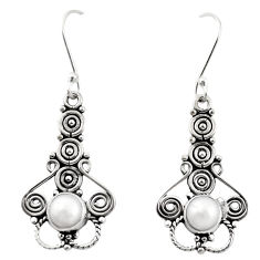 Clearance Sale- Natural white pearl 925 sterling silver dangle earrings jewelry d26398