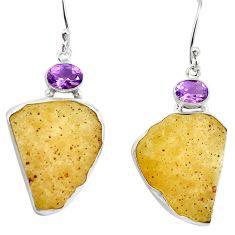 Natural libyan desert glass (gold tektite) 925 silver dangle earrings d27021