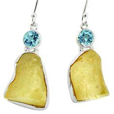 Natural libyan desert glass (gold tektite) 925 silver dangle earrings d27022