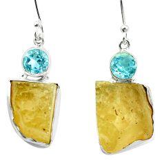 Natural libyan desert glass (gold tektite) 925 silver dangle earrings d27023