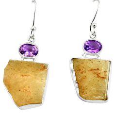 Natural libyan desert glass (gold tektite) 925 silver dangle earrings d27025