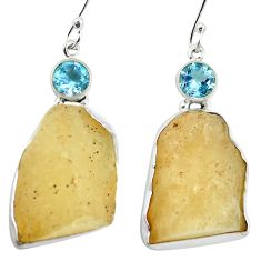 Natural libyan desert glass (gold tektite) 925 silver dangle earrings d27026