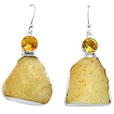 Natural libyan desert glass (gold tektite) 925 silver dangle earrings d27027