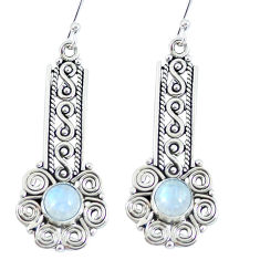 Natural rainbow moonstone 925 sterling silver earrings jewelry d27307
