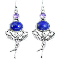 Clearance Sale- 925 sterling silver natural blue lapis lazuli amethyst earrings jewelry d27330