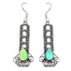 Natural green abalone paua seashell 925 silver dangle earrings d27381