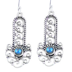 Clearance Sale- Natural blue labradorite 925 sterling silver dangle earrings d27383