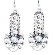 Clearance Sale- Natural white pearl 925 sterling silver dangle earrings jewelry d27385