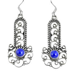Clearance Sale- Natural blue lapis lazuli 925 sterling silver dangle earrings d27386