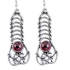 Natural red garnet 925 sterling silver dangle earrings jewelry d27391