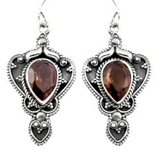 Brown smoky topaz 925 sterling silver dangle earrings jewelry d27561