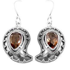 Brown smoky topaz 925 sterling silver dangle earrings jewelry d27562