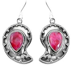 Natural red ruby 925 sterling silver dangle earrings jewelry d27563