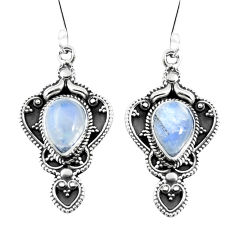 Clearance Sale- 925 sterling silver natural rainbow moonstone dangle earrings d27564