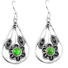 Clearance Sale- Green copper turquoise 925 sterling silver dangle earrings d27565