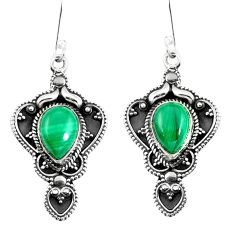 Natural green malachite (pilot's stone) 925 silver dangle earrings d27566