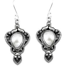Natural white pearl 925 sterling silver dangle earrings jewelry d27567