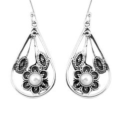 Natural white pearl 925 sterling silver dangle earrings jewelry d27568