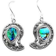 Natural green abalone paua seashell 925 silver dangle earrings d27569