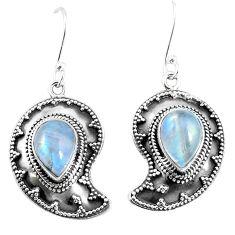 Natural rainbow moonstone 925 sterling silver dangle earrings d27570