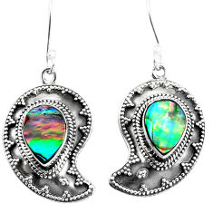 925 silver natural green abalone paua seashell dangle earrings d27571