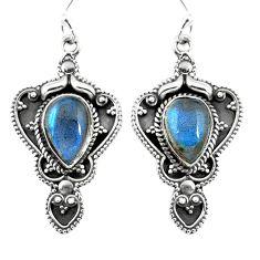 Natural rainbow moonstone 925 sterling silver dangle earrings d27573