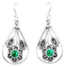 Natural green malachite (pilot's stone) 925 silver flower earrings d27574