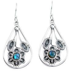 Clearance Sale- Natural blue labradorite 925 sterling silver dangle earrings d27576