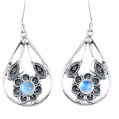 Clearance Sale- Natural rainbow moonstone 925 sterling silver flower earrings d27577