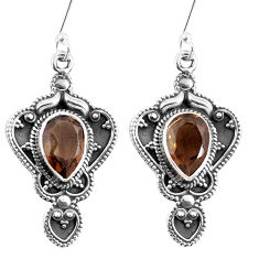 Clearance Sale- 925 sterling silver brown smoky topaz dangle earrings jewelry d27578